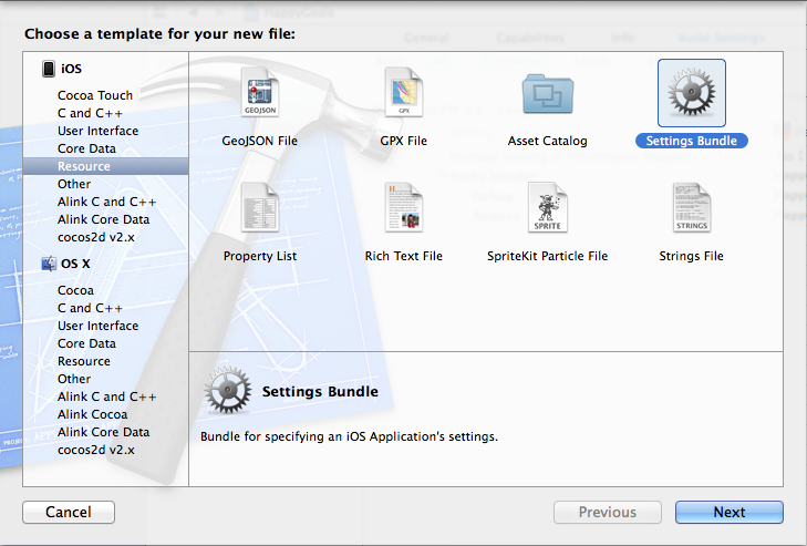 Create Settings Bundle from Xcode